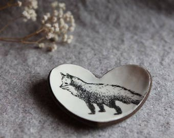 Heart Dish in Stoneware with Fox