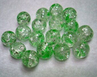 Lime Splashed Crackle Glass Round Beads - B3216