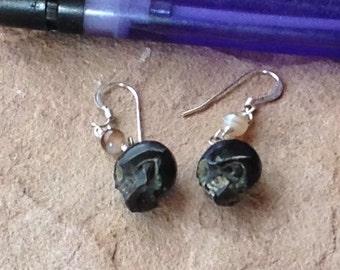 Realistic Carved Horn Skull, Small, Sterling Silver Earrings,Gothic Wedding,Harley Biker Jewelry,Day of Dead Earrings, Zombie Wear