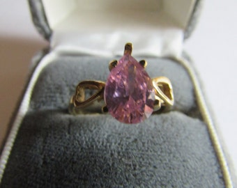 pink tear drop ring