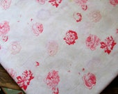 French Vintage Faded Florals, Faded Roses, Raspberry Florals, Time Faded, Time Worn, Shabby Chic Textile,  Original French Vintage Fabric