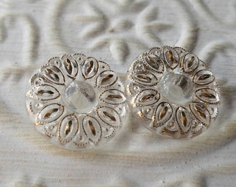 Vintage Buttons - 2 matching  novelty flower gold hand painted  design cut glass Depression glass (lot feb 339 17)