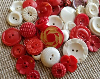 Vintage Buttons - Cottage chic mix of red and white lot of 54 old and sweet(mar 61 17)
