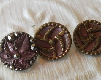 Vintage Buttons - Collector molded metal, Victorian and Collector, 3 small, 2 matching designs,  (may 101 17)