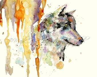 Wolf Art,  Art Print, Wolf Print, Watercolor Print, Watercolor Painting, Wolf Painting, Home Decor, Animal Art, Colorful Art, Majik Horse