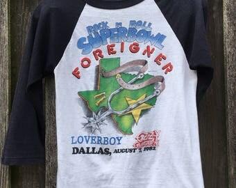 Vintage 1982 Rock N Roll Super Bowl Ringer Tee Foreigner Ozzy Loverboy Women's S/M Men's XS