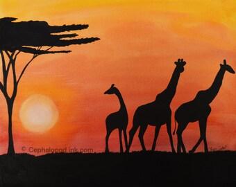 Giraffe #1 Art Print Watercolor, family sunset bedtime, 8x10