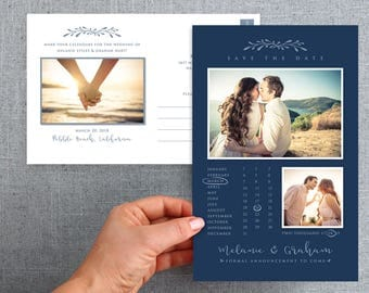 """50+ Oversized Save the date card, postcard, with calendar """"Melanie Style"""""""