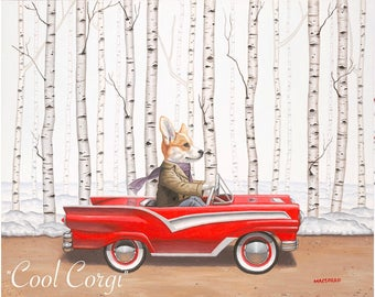 Corgi Canvas Giclée Canvas Print Wall Decor