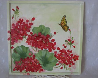 Wood Plaque Red Geraniums Butterfly Hand Painted Wall Decor