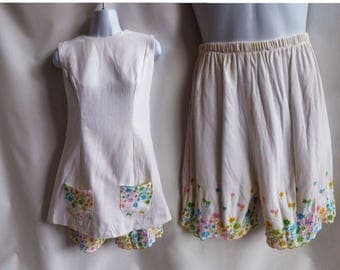 Vintage 60s Shorts Set Size M White Cotton Pants Dress Romper One Piece