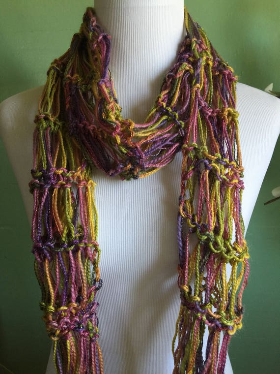 Hand Knit Ladies Fashion Accessory Lightweight Scarf with Shimmer