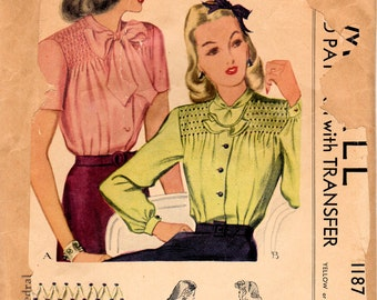 1940s McCall 1187 Vintage Sewing Pattern Misses Smocked Blouse Size 12 Bust 30