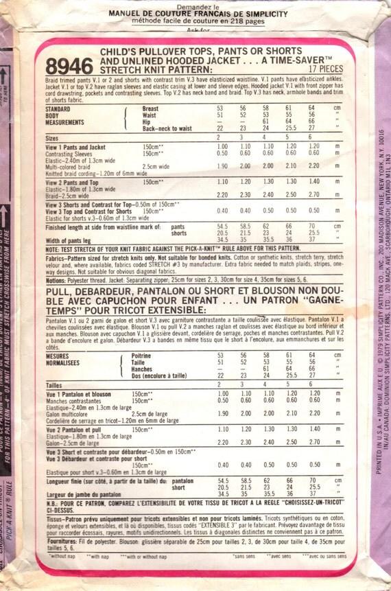 década de 1970 simplicidad 8946 costura Vintage patrón a chicos y ...