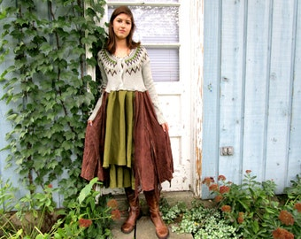 Med. Upcycled Prairie Country Bohemian Sweater Dress// Reconstructed// Fall Autumn Winter// Gray Brown Green// emmevielle