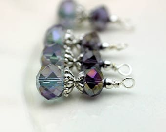 Vintge Style Purple Rondelle Crystal Earring Dangle with Ornate Silver Bead Dangle Charm Drop Set - Earring Dangle, Charm, Pendant