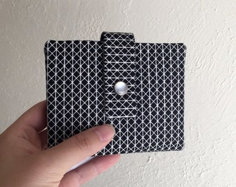 Black and White Geometric Print Wallet - Midsize Cash and Card Wallet with Change pouch-