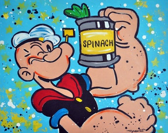 "Super Greens Popeye Original Pop Art Painting, 24"" x 30"""