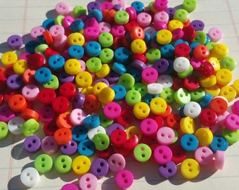 "Assorted Tiny Buttons - Multicolor Little Button Assortment - Sewing Bulk Button - 1/4"" Wide - 6mm - 100 Buttons"