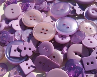 Purple Buttons - Sewing Button - Light Purple Buttons - 120 Buttons - Lavender