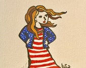 Proud and Free American Woman Notecard
