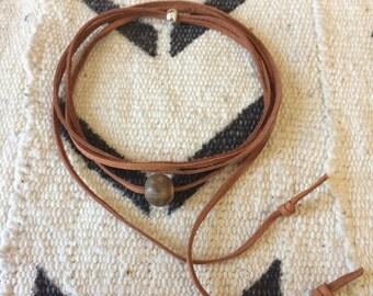 CHOKER ceramic bead and deerskin suede