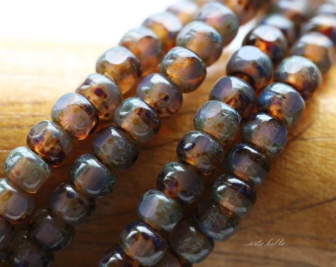 LAVENDER OPAL SEEDS .. 50 Picasso Czech Glass Tri-Cut Seed Bead Size 6/0 (5709-st)