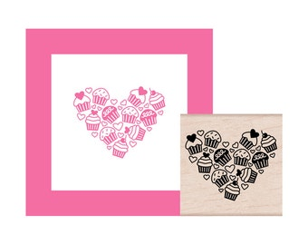 NEW for 2017 Cupcake Heart Rubber Stamp