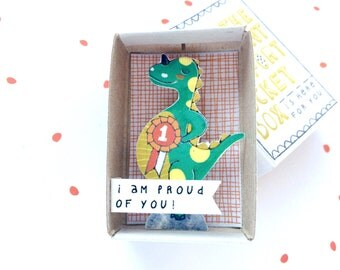 Dino - The Instant Comfort Pocket Box - i am proud of you! - cheer up and consolation box - achievement gift