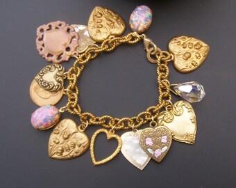 Heart Charm Bracelet, Lily of the Valley Bracelet, Vintage Baubles Bracelet, Pink Fire Opal Jewelry, Brass Heart Bracelet, Flower Bracelet