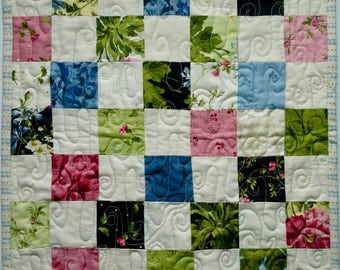 Doll Quilt, Small Quilt, Wall Hanging, Pink, Blue Green Black