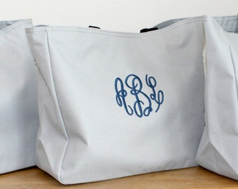 Grey Personalized Bag Monogrammed Market Tote Christmas Gift