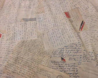 Vintage Love Letter Fabric - WWII Sweetheart Correspondence, Fountain Pen Script Handwriting Beautiful Penmanship