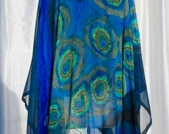 Hand Painted Silk Cocoon with Peacock Feather Motif, Kimono, Made in USA