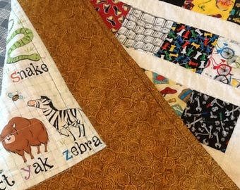 Gold I Spy Baby Quilt