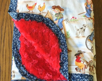 New...Cowgirl Minky Blanket...CAN BE PERSONALIZED