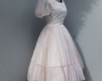 Vintage 1950s Dress, Rockabilly, Party Dress, Circle Skirt Party Dress, Polk a Dots, White and Red, fit and Flare, New Look, Prom Dress