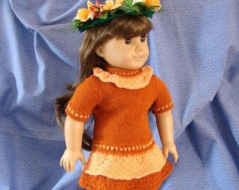 Doll Dress American Girl Doll Knit Dress 18 inch Doll Rust and Peach Knit Dress Knit Doll Dress AG Doll Knit Peach Dress Am Girl Doll Dress