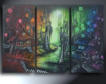 Rainbow Landscape Bayou Imaginative Town Whimsyville Original Art On Canvas Original Artwork Total Size 25 x 36 Three Canvas Set
