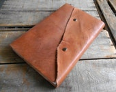 Large Leather Journal With Snap Closure, Blank Hand Dyed Brown Distressed Leather Sketchbook, Leather Wedding Guest Book, Travel Art Journal