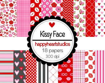 DigitalScrapbooking KissyFace Red, Pink, Love Lips, Hearts -InstantDownload