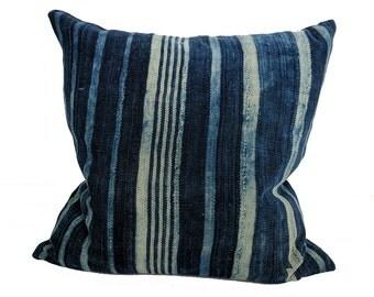 African Indigo Farmhouse Stripe Pillow | BUBBA 18x18