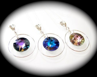 Swarovski Sun Crystal Sterling Silver Open Circle Necklaces 5 Color Choices