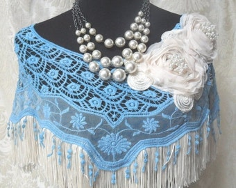 25% OFF Love my customers CAPELET Cover-Up Shawl Scarf Denim Blue Color Crocheted and Adorned - Denim Blue and Ivory