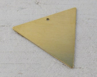 6 Raw Bare Naked Brass Triangle Earring Connector Charms 1501 - 6 pieces