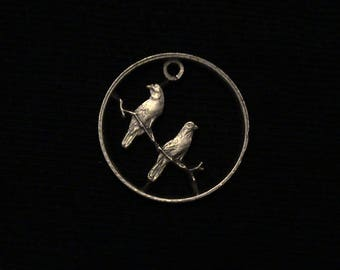 South Africa - cut coin pendant - Perched Sparrows - 1966