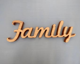 family sign oak wood shelf sitter word art