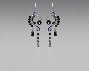 Steampunk Earrings with black Swarovski Crystals, Crystal Earrings, Swarovski Earrings, Watch Parts, Statement Jewelry, Tyche II v12
