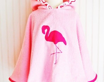 Girls Swimsuit Coverup. Flamingo Coverup. Beach Poncho. Terry Coverup. Pink Coverup. Toddler Coverup. Hooded Coverup.