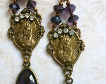 Purple virgin Mary crystal earrings blue
